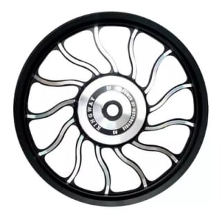 Click to Zoom Image of ALLOY WHEEL SET FOR RE STANDARD WAVEDESIGN IN BLACK SPOKES 13 SPOKES HARLEY TYPE KINGWAY